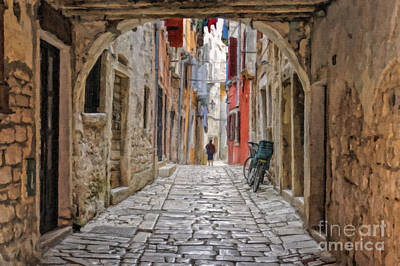 Croatia Painting - Cobblestone Streets Of Rovinj by Sheldon Kralstein