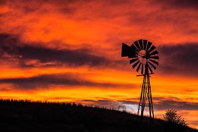 Cobblestone Windmill At Sunset Art Print