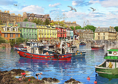 Seagull Drawing - Cobh Harbour by Dominic Davison