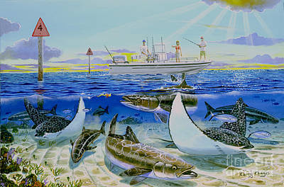 Spotted Eagle Ray Painting - Cobia Run In004 by Carey Chen