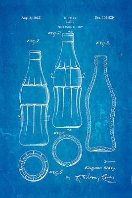 Coca Cola Bottle Patent Art 1937 Blueprint Art Print by Ian Monk