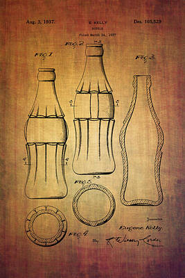 Digital Art - Coca Cola Bottle Patent From 1937 by Eti Reid