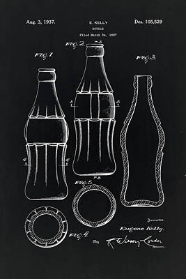 Digital Art - Coca Cola Bottle Vintage Patent On Black  by Eti Reid