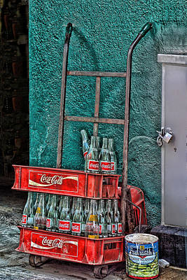 Coca Cola Cart And Bottles 1 Print by Linda Phelps
