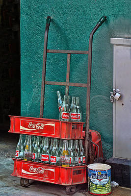 Coca Cola Cart And Bottles Print by Linda Phelps