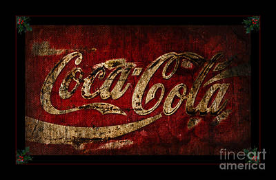 Coca-cola Signs Photograph - Coca Cola Christmas Holly by John Stephens