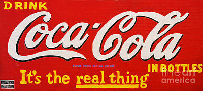 Digital Art - Coca Cola Coke Vintage Americana Red Street Sign On A Brick Wall Accented Edges Digital Art by Shawn O'Brien