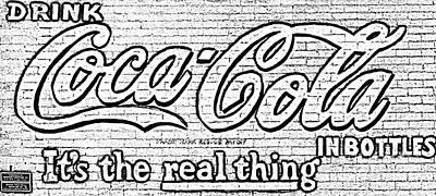 Digital Art - Coca Cola Coke Vintage Americana Red Street Sign On A Brick Wall Black And White Digital Art by Shawn O'Brien