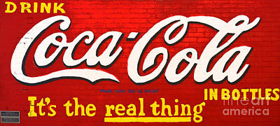 Photograph - Coca Cola Coke Vintage Americana Red Street Sign On A Brick Wall Film Grain Digital Art by Shawn O'Brien
