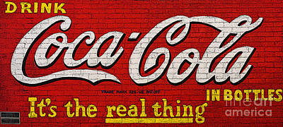 Digital Art - Coca Cola Coke Vintage Americana Red Street Sign On A Brick Wall Poster Edges Digital Art by Shawn O'Brien