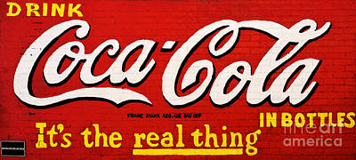 Digital Art - Coca Cola Coke Vintage Americana Red Street Sign On A Brick Wall Watercolor Digital Art by Shawn O'Brien