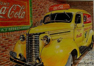 Chevrolet Truck Drawing - Coca Cola Delivery Truck by Jackie Bryant