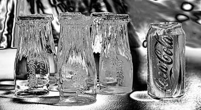 Photograph - Coca-cola Glasses And Can - Liquid Chrome By Kaye Menner by Kaye Menner