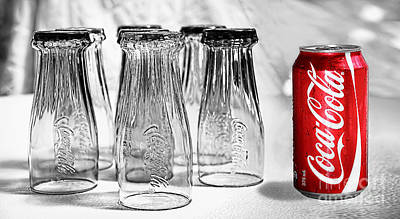 Photograph - Coca-cola Glasses And Can - Selective Color By Kaye Menner by Kaye Menner