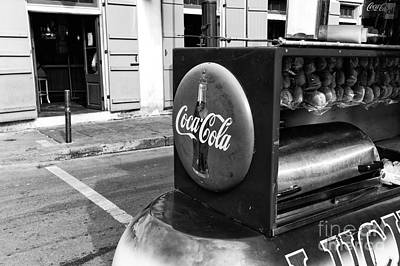 Lucky Dogs Wall Art - Photograph - Coca Cola On Bourbon Street Mono by John Rizzuto