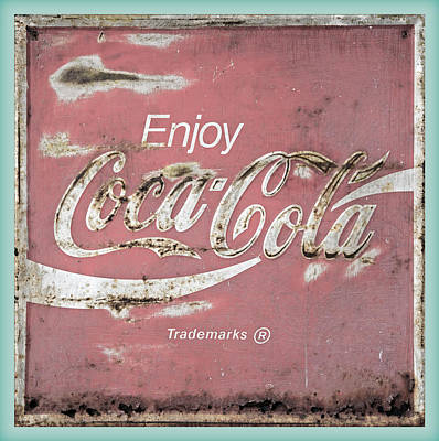 Old Coke Sign Wall Art - Photograph - Coca Cola Pastel Grunge Sign by John Stephens