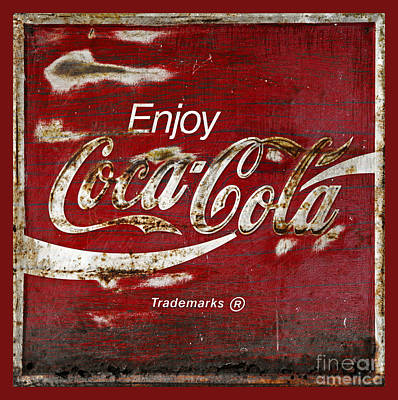 Coca Cola Red Grunge Sign Print by John Stephens