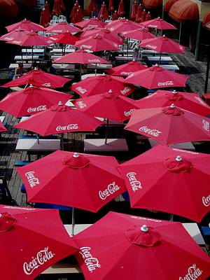 Coca Cola Red Umbrella's Art Print by Rick Todaro