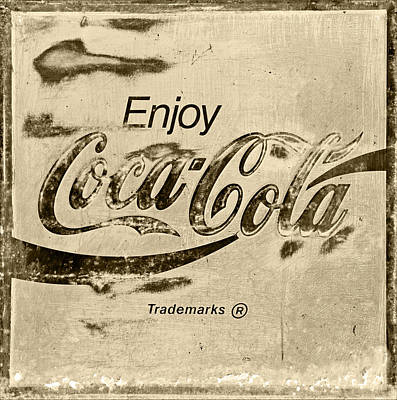 Rusty Coke Sign Photograph - Coca Cola Sign Retro Style by John Stephens