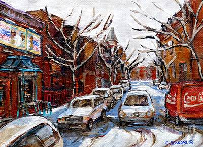 Painting - Coca Cola Truck In Traffic Fairmount Street Plateau Montreal Mile End Paintings Winter City Scenes   by Carole Spandau