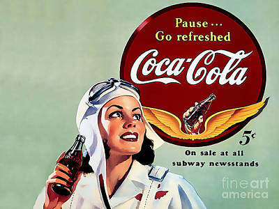 Mixed Media - Coca Cola Vintage Ad Poster by Marvin Blaine