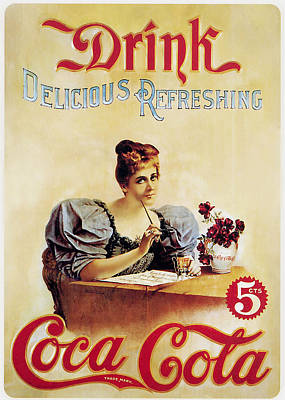 Drink Coca Cola Photograph - Coca - Cola Vintage Poster - Drink Delicious Refreshing by Gianfranco Weiss