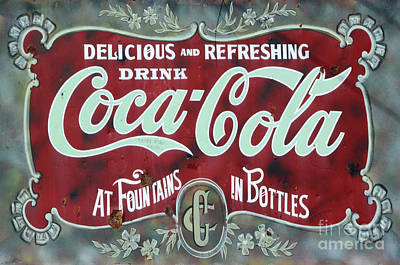 Vintage Coke Sign Photograph - Coca Cola Vintage Sign South America by Bob Christopher