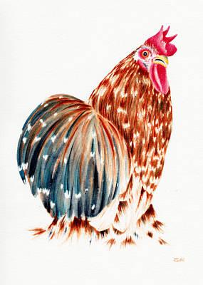 Rosedahl Painting - Cochin Rooster by Sarah Rosedahl