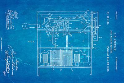 Washing Machine Photograph - Cochran Dish Washing Machine Patent Art 1886 Blueprint by Ian Monk