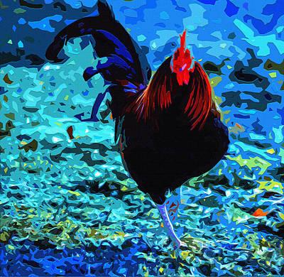 Cock-a-doodle-blue Art Print by Brian Stevens