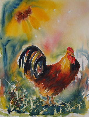 Painting - Cock-a-doodle-do by Arlys Hefty