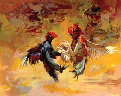 Secretariat Painting - Cock Fight by Art Tantra