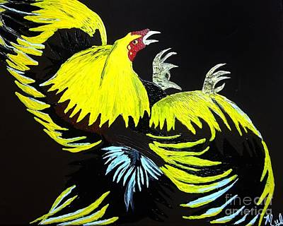 Painting - Cock Fight Or Flight by Saundra Myles