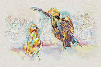 Painting - Cock Fighting by Catf