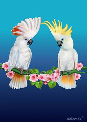 Cherry Blossoms Digital Art - Cockatoo Courtship by Glenn Holbrook