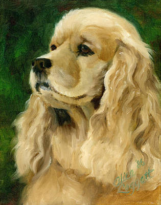 Dog Portrait Painting - Cocker Spaniel Dog by Alice Leggett