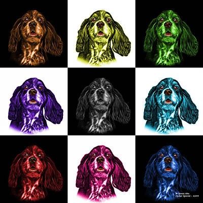 Mixed Media - Cocker Spaniel Pop Art - 8249 - V1 - M by James Ahn