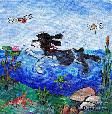 Cocker Taking A Dip Original by Peggy Johnson
