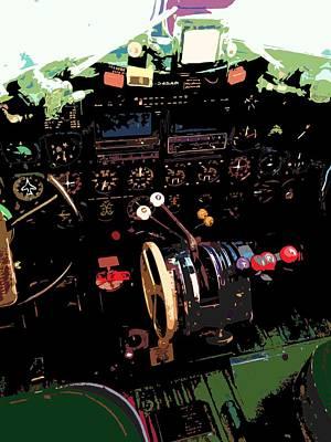 C-47 Painting - Cockpit by Julio Lopez
