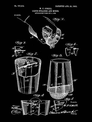 Cocktail Mixer And Strainer Patent 1902 - Black Print by Stephen Younts