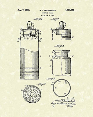 Shakers Drawing - Cocktail Shaker 1934 Patent Art by Prior Art Design