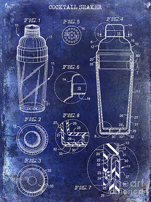 Shakers Photograph - Cocktail Shaker Patent Drawing Blue by Jon Neidert