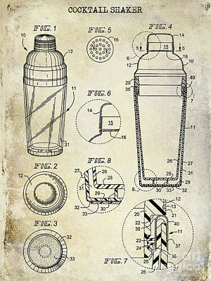 Shakers Photograph - Cocktail Shaker Patent Drawing by Jon Neidert