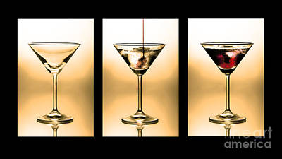 Cocktail Triptych In Gold Art Print by Jane Rix