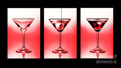 Cocktail Triptych In Red Art Print by Jane Rix