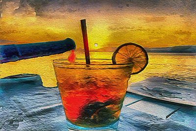 Hydra Island Painting - Cocktails On Hydra by Laurence Canter
