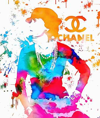 Actors Royalty-Free and Rights-Managed Images - Coco Chanel Paint Splatter by Dan Sproul