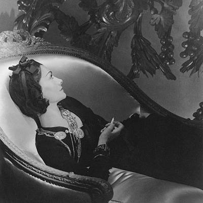 Jewelry Photograph - Coco Chanel Smoking by Horst P. Horst