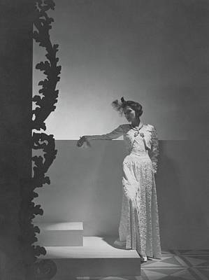 Ostrich Photograph - Coco Chanel Wearing A Chiffon Dress by Horst P. Horst