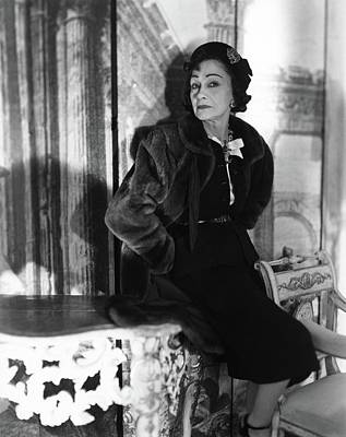 1950s Fashion Photograph - Coco Chanel Wearing A Fur Coat by Horst P. Horst